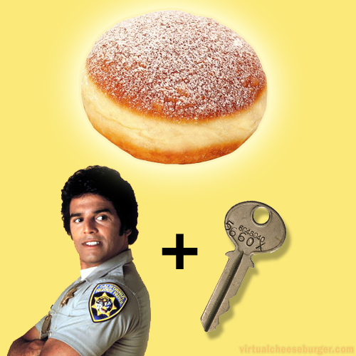 Ponch plus Key equals how you pronounce the name of the Mardis Gras Jelly Donut