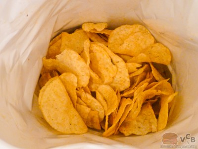 a look inside the Chicken & Waffles flavor Potato Chip Bag